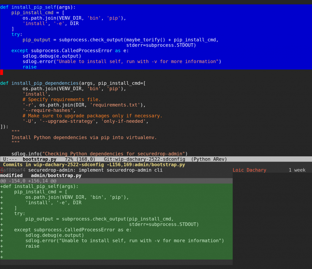 using magit to show which commits modified a region – Loic